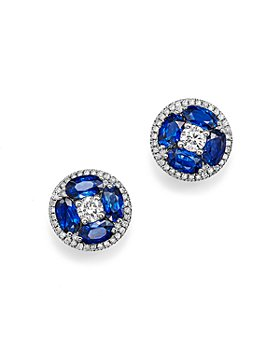 Bloomingdale's - Sapphire and Diamond Stud Earrings in 14K White Gold- 100% Exclusive