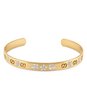 Gucci - 18K Yellow Gold and White Mystic Icon Blooms Cuff