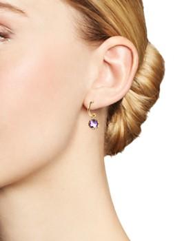 Bloomingdale's - Amethyst Drop Hoop Earrings in 14K Yellow Gold- 100% Exclusive