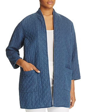 Eileen Fisher Plus Open-Front Quilted Jacket