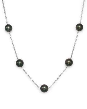 Cultured Tahitian Black Pearl Tin Cup Necklace in 14K White Gold, 18 - 100% Exclusive