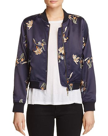 AQUA - Embroidered Floral Bomber Jacket - 100% Exclusive
