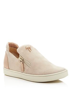 New Giuseppe Zanotti Brekmoc Double Zip Slip-On Sneakers, Pink Beige