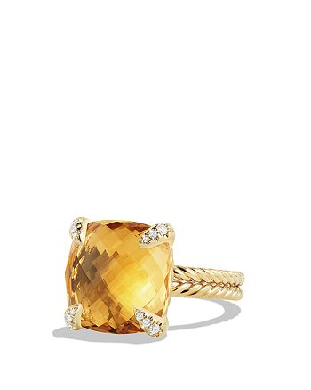 David Yurman - Châtelaine Ring with Citrine and Diamonds in 18K Gold