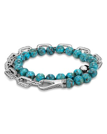 JOHN HARDY - Sterling Silver Classic Chain Turquoise with Black Matrix Double Wrap Beaded Bracelet
