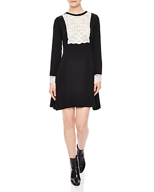Sandro Seira Lace-Trim Dress