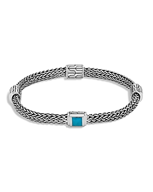 John Hardy Sterling Silver Classic Chain Extra Small Four Station Bracelet with Turquoise