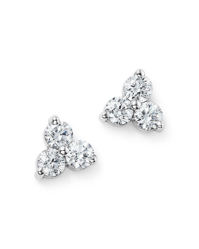 Bloomingdale's - Diamond Three Stone Stud Earrings in 14K White Gold, 0.60 ct. t.w.- 100% Exclusive