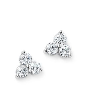 Diamond Three Stone Stud Earrings in 14K White Gold, .60 ct. t.w. - 100% Exclusive