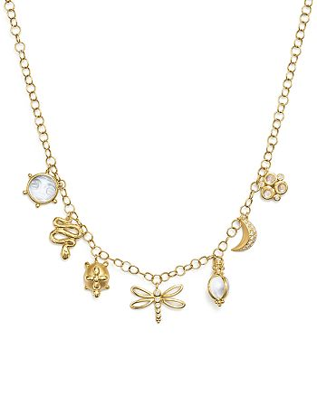 """Temple St. Clair - 18K Yellow Gold Tree of Life Mixed Charm Necklace with Royal Blue Moonstone, Crystal and Diamonds, 24"""" - 100% Exclusive"""