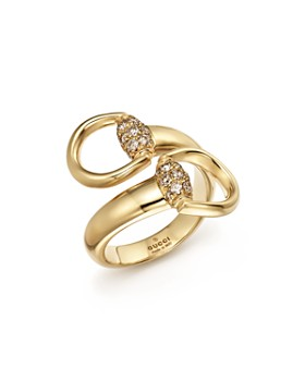 Gucci - Gucci Horsebit Contraire Ring in 18K Yellow Gold with Brown Diamonds