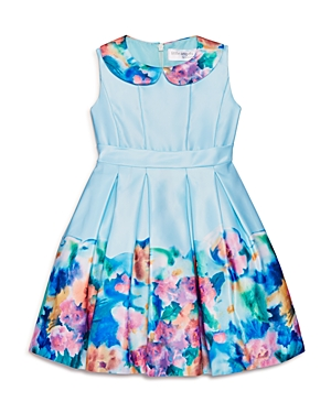 Us Angels Girls' Floral Border Matte Satin Dress - Little Kid