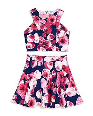 Miss Behave Girls' Floral Jacquard Top & Skirt Set - Sizes 8-16