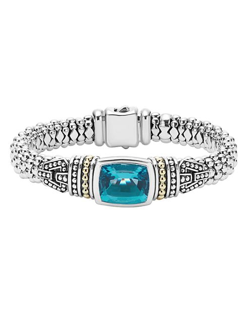 LAGOS - 18K Gold and Sterling Silver Caviar Color Bracelet with London Blue Topaz