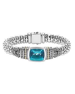 Lagos 18K Gold and Sterling Silver Caviar Color Bezel Bracelet with London Blue Topaz