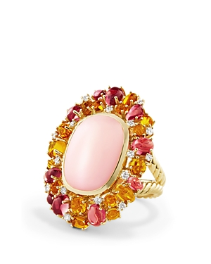 David Yurman Mustique Statement Ring with Pink Opal, Citrine, Pink Tourmaline and Diamonds in 18K Yellow Gold