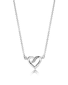 "PANDORA Sterling Silver & Cubic Zirconia Ribbons Of Love Necklace, 14.5"" - Bloomingdale's_0"
