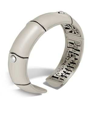 John Hardy Sterling Silver Bamboo Kick Cuff in Off White