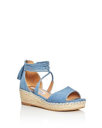 8190f635a2f5 STEVE MADDEN - Girls  Denim Espadrille Platform Wedge Sandals - Little Kid