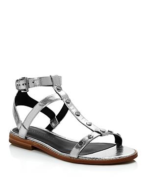 Rebecca Minkoff Sandy Metallic Leather Studded T Strap Sandals