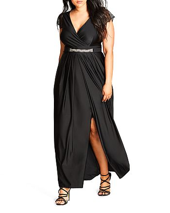 City Chic Plus - Flirty Drape Maxi Dress