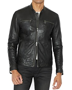 John Varvatos Star USA Leather Band Collar Moto Jacket - Bloomingdale's_0