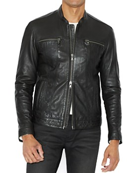 John Varvatos Star USA - Leather Band Collar Moto Jacket