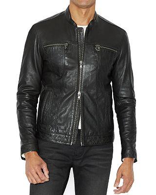 John Varvatos Star Usa Leather Band Collar Moto Jacket Bloomingdale S