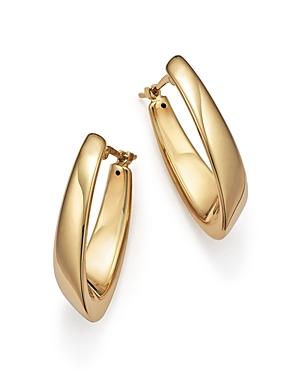 14K Yellow Gold Medium Visor Hoop Earrings - 100% Exclusive