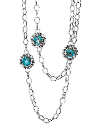 """LAGOS - Sterling Silver Maya Escape Chrysocolla Six Stone Doublet Station Necklace, 36"""""""