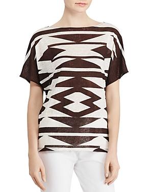 Lauren Ralph Lauren Linen Geometric Print Top