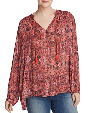 Lucky Brand Plus Paisley Fringe Neck Peasant Blouse