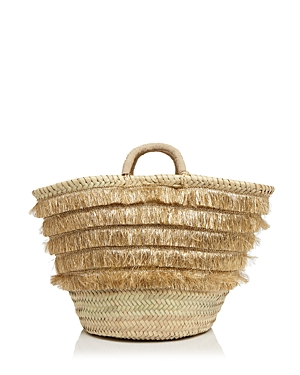 Caterina Bertini Metallic Fringe Straw Tote