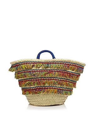 Caterina Bertini Multicolor Fringe Straw Tote