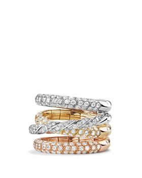 David Yurman - Pavé Flex Four Row Ring with Diamonds in 18K Gold