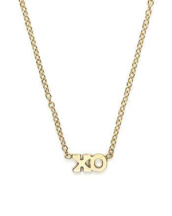 "Zoë Chicco - 14K Yellow Gold Itty Bitty Tiny XO Necklace, 16"""