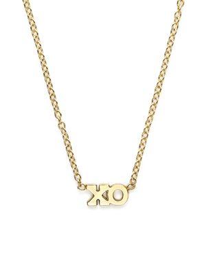 Zoe Chicco 14K Yellow Gold Itty Bitty Tiny Xo Necklace, 16