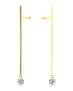 La Brune et La Blonde - 18K Yellow Gold 360 Diamond Stick Drop Earrings