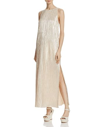 Alice and Olivia - Lucia Metallic Plissé Maxi Dress