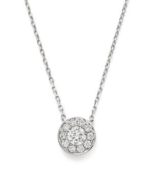 Diamond Cluster Round Bezel Pendant Necklace in 14K White Gold, .30 ct. t.w. - 100% Exclusive