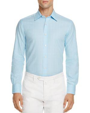 Canali Textured Effect Regular Fit Button-Down Shirt 1867377