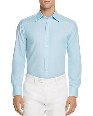Canali Textured Effect Regular Fit Button-Down Shirt