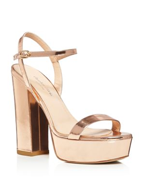 Charles David Retro Metallic Leather Platform High Heel Sandals