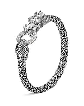 John Hardy Naga Silver Dragon Bracelet With Diamond Pavé