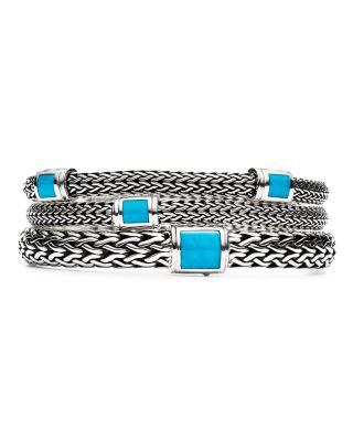 Sterling Silver Classic Chain Medium Bracelet with Turquoise