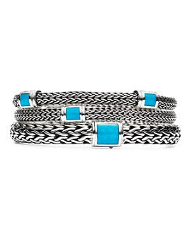 JOHN HARDY - Sterling Silver Classic Chain Bracelets with Turquoise