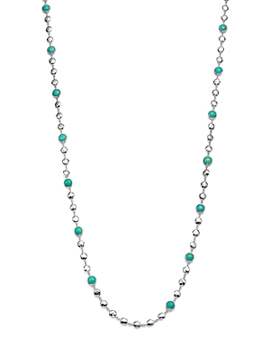 Ippolita Rock Candy Long Multi Stone and Flat Hammered Bead Necklace in Turquoise, 36