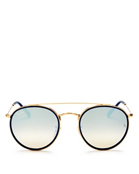 Ray-Ban - Unisex Mirrored Brow Bar Round Sunglasses, ... 8ee8b47e531f