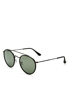 Ray-Ban - Unisex Polarized Brow Bar Round Sunglasses, 50mm