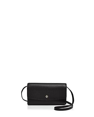 Tory Burch Robinson Mini Pebbled Leather Wallet Crossbody